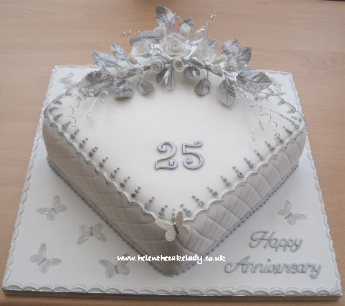 Silver Wedding Anniversary Cake With Sugar Flower Rose Silver Leaves