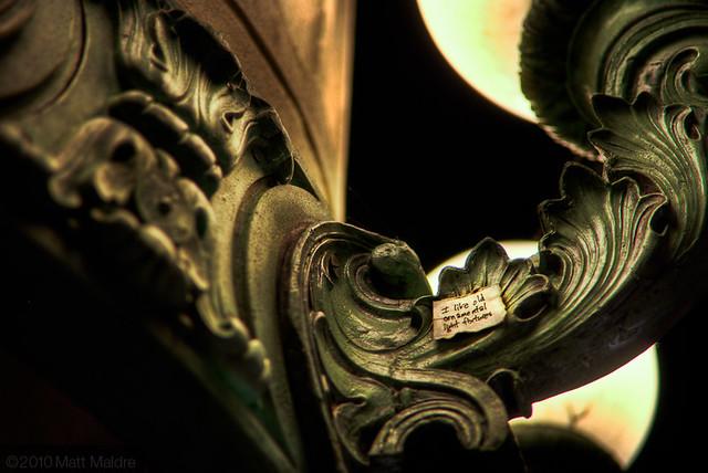 I like old ornamental light fixtures