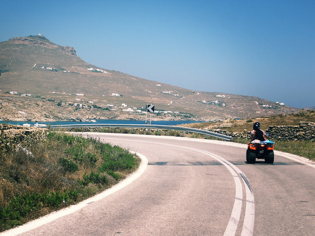 quad biking through Mykonos