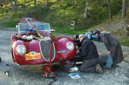 """The Alfalfa Sprout "";  Alastiar Cadwell formerly of Mclaren on lead spanners sorting his 1938 Alfa 6C on the 2010 Peking to Paris."