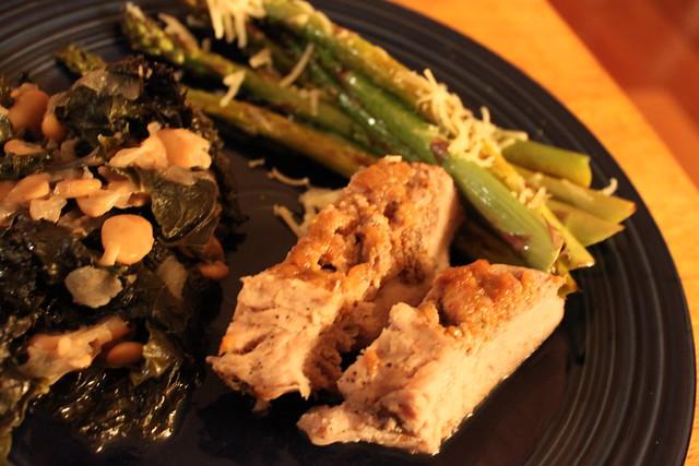 Pork chops stuffed with homemade rosemary plum jam, asparagus with ...