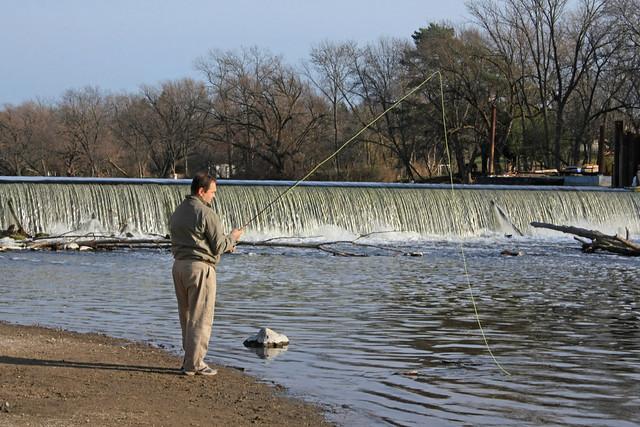 Fisherman mequon thiensville dam milwaukee river for Milwaukee river fishing