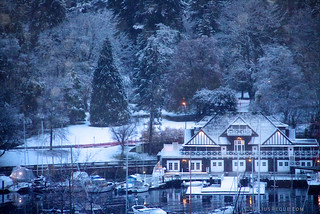 Snow falls on the Vancouver Rowing Club Building