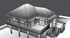 gambar 3d prespektif rumah hitam putih