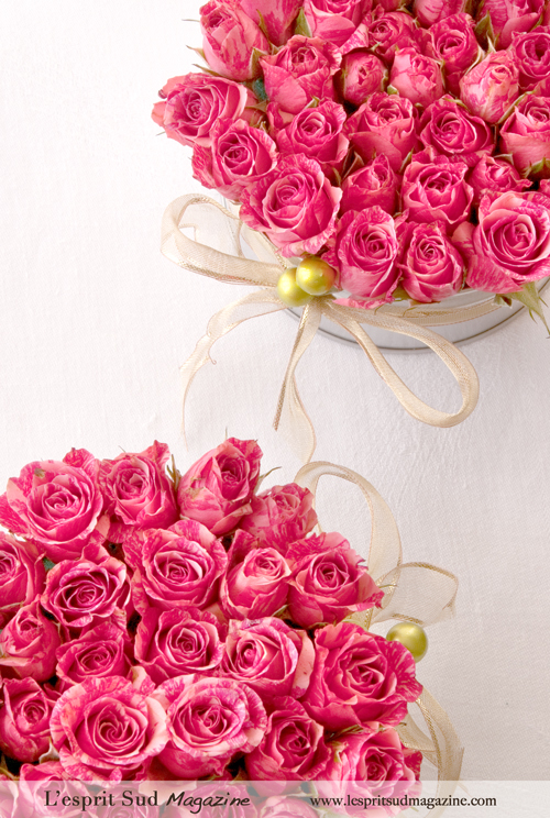 Pink wedding flowers with a holiday flair