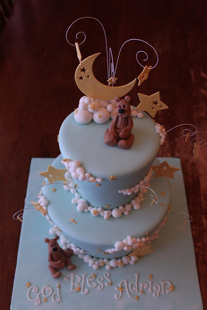Moon, Stars, and Clouds cake with gum paste Teddies