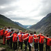 Year 9s looking down the awe inspirnig Llanberis Pass on their mountain walk