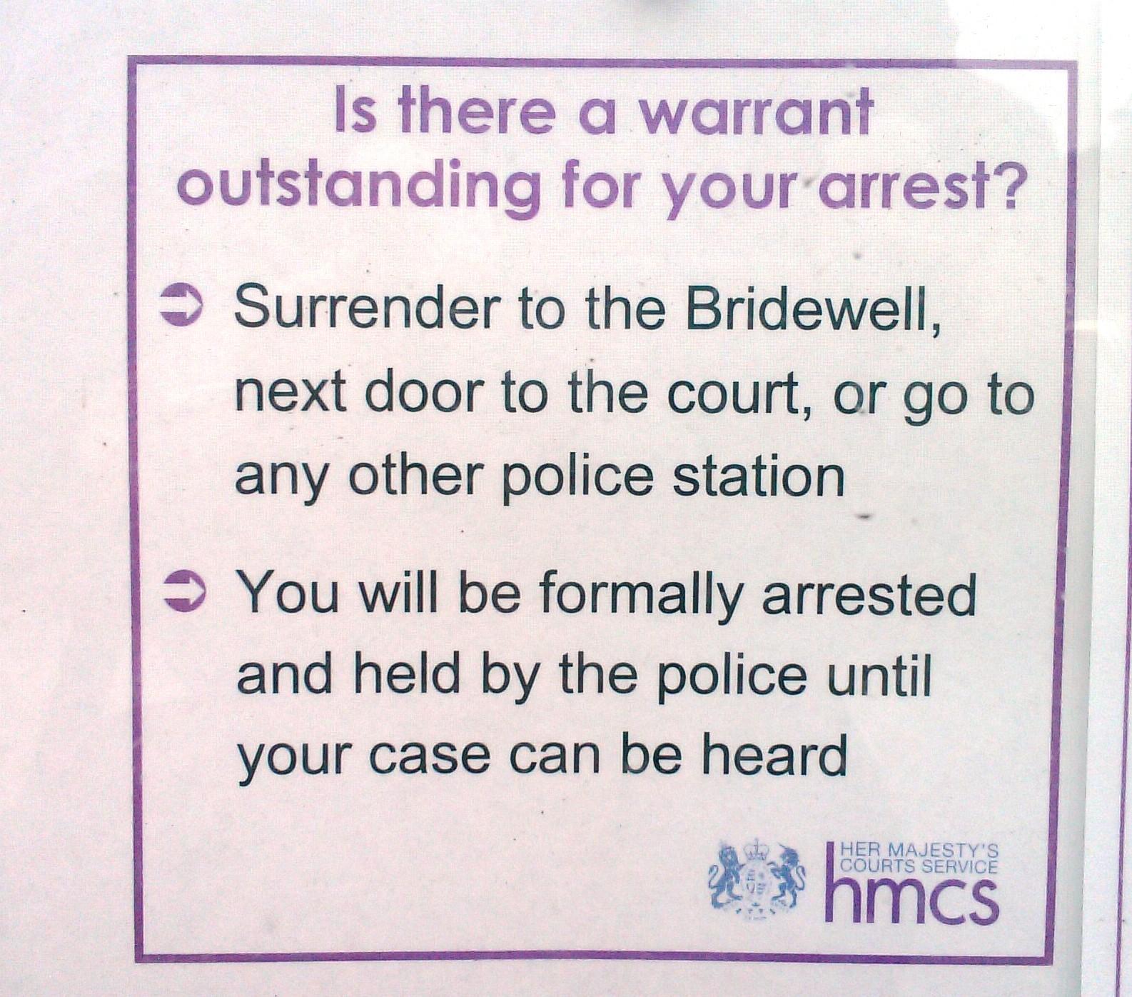 arrest warrant notice