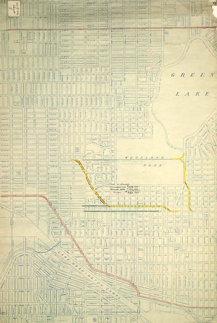 Proposed surface and tunnel routes for proposed Ballard-University highway, 1929