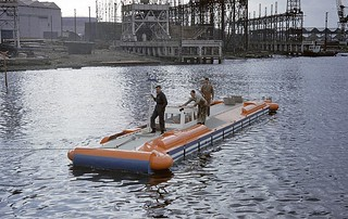 The prototype hovercraft D1 on the day of its launch in 1961 - Image courtesy of Dr Mike Cooper