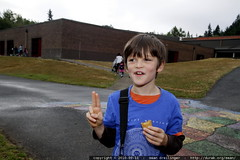 nick poses before his first day in the second grade