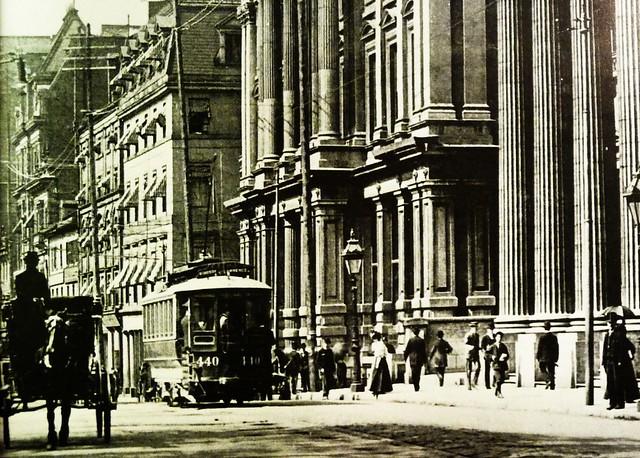 Grand Foyer And Rear Of Auditorium Of Allen Place In Montreal : Vieux montr�al la rue saint jacques gt ouest depuis