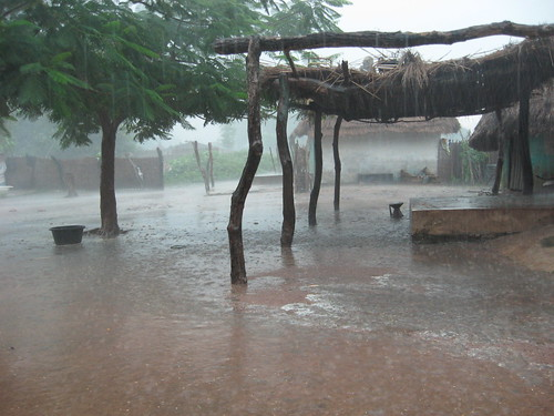 Flooding African village