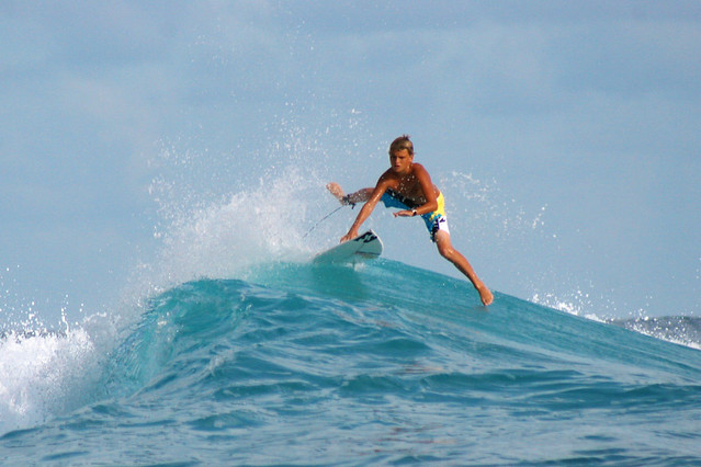 Even the little ones can master the waves at Teahupoo.