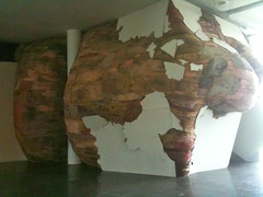 wooden tree cave, bursting forth from the gallery, san paulo bienale 2010