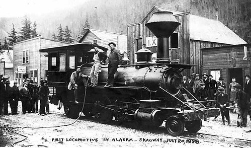 The first locomotive in Alaska, purchased by White Pass and Yukon Railroad, Skagway, Alaska