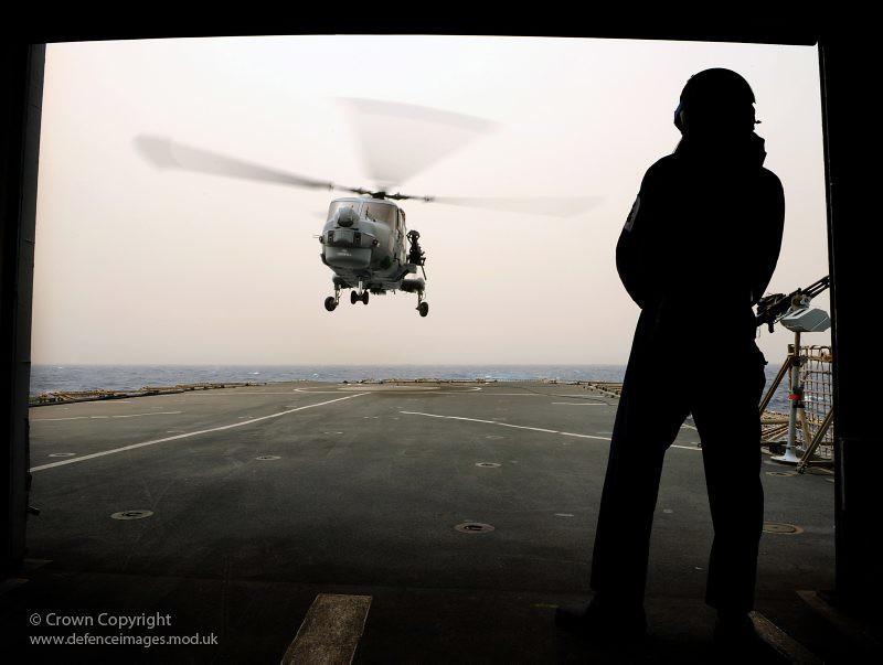 USS Anzio staff visit HMS Cornwall
