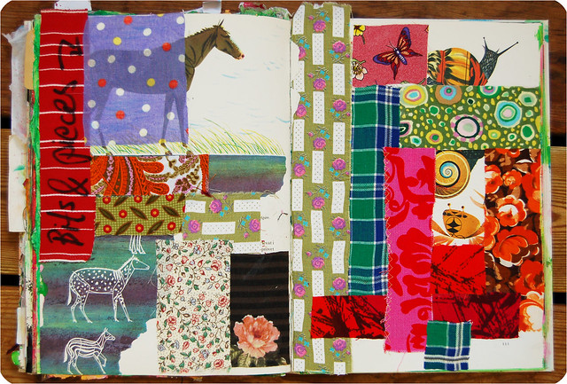 Creative Nudge 1: a fabric collaged page