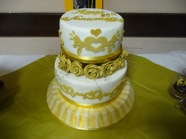 50th wedding anniversary cake Golden wedding cake 2 tiers with handmade