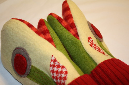 Felted Wool Mittens-Recycled