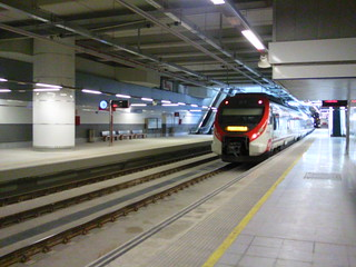 Train leaving Malaga Airport rail station