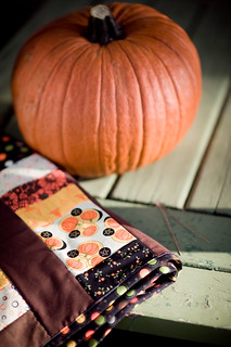 Halloween quilt with pumpkin