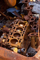 Rusty engine block and exhaust manifold