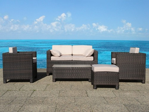 beliani wicker lounge set