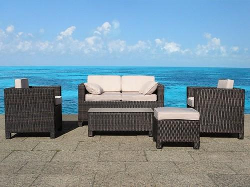 beliani wicker lounge set