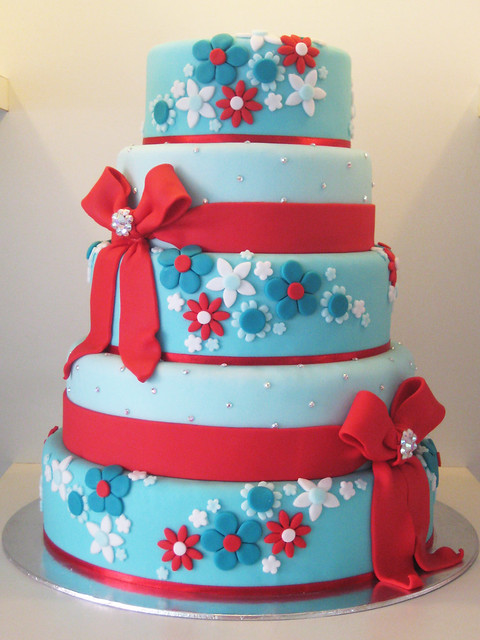 a 5 tier wedding cake in turquoise and red i 39d been wanting to do this