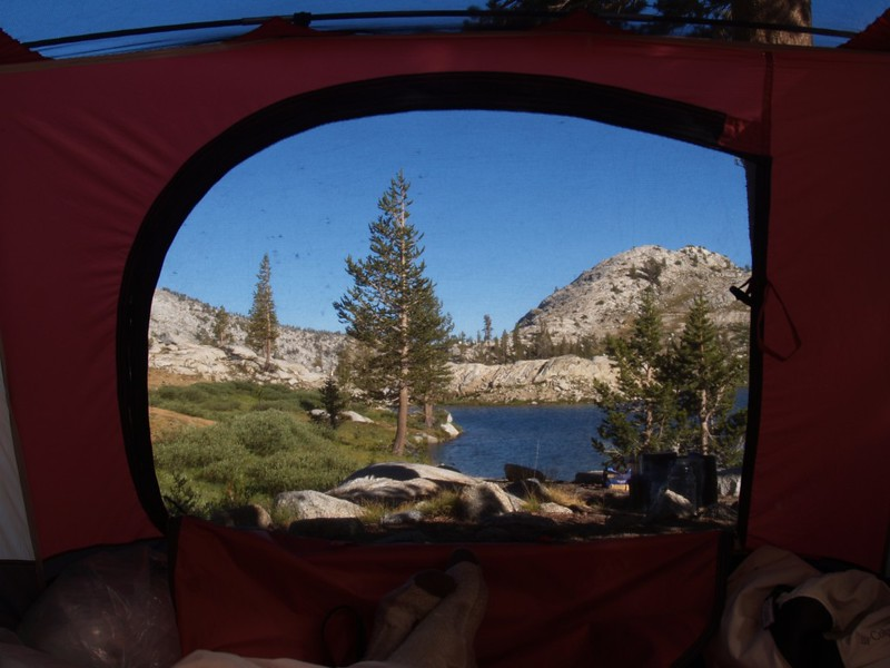 The view from inside our tent at Granite Lake. Nice! We were the only people camping there.