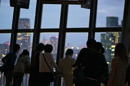 People looking down from Toyko Tower