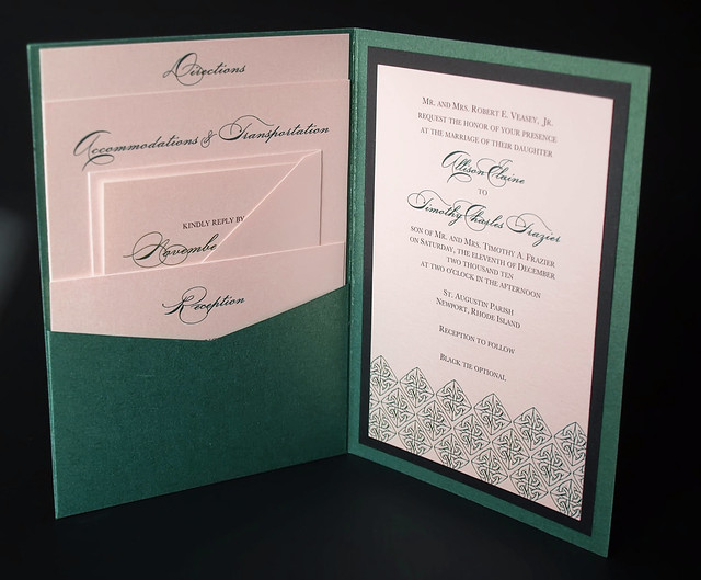 Irish Green Wedding Invitation A7 Pocket Folded