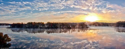 morning autumn trees light mist fall water fog sunrise canon dawn golden nc northcarolina denise goldenhour jordanlake worden 450d photocontestfall10 deniseworden