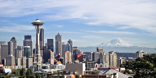 Seattle, Space Needle, and Mt. Rainier by timeforthe