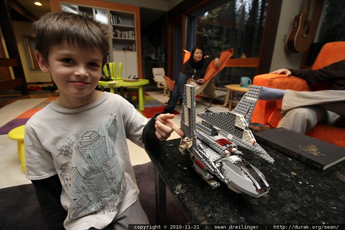nick showing off his lego kit   emperor palpatine's shuttle