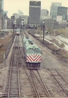 Chicago RTA locomotives backing in to La Salle Street Station. Chicago Illinois. Nov 1983. by Eddie from Chicago