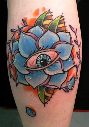 Eyeball & Flower Tattoo