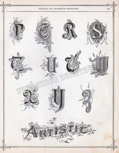 Alphabet P To Z Victorian Calligraphy 1886 Flickr