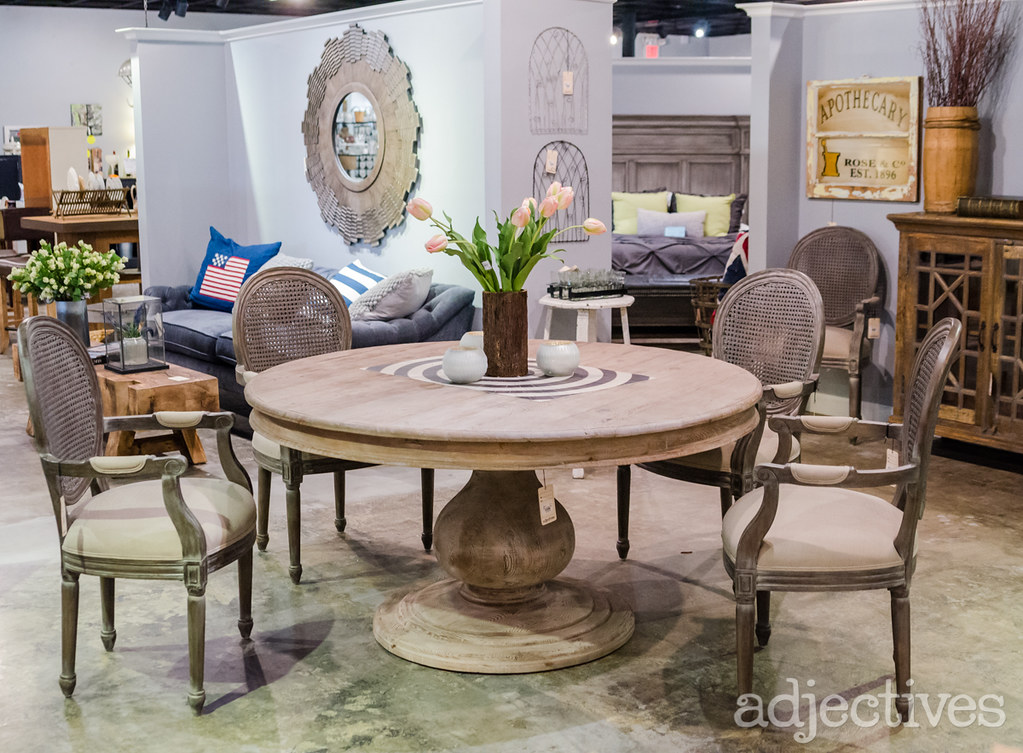 Round dining table and vintage inspired chairs by Adjectives Altamonte