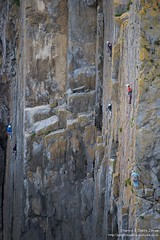 Climbers at Skrinkle Haven, Pembrokeshire