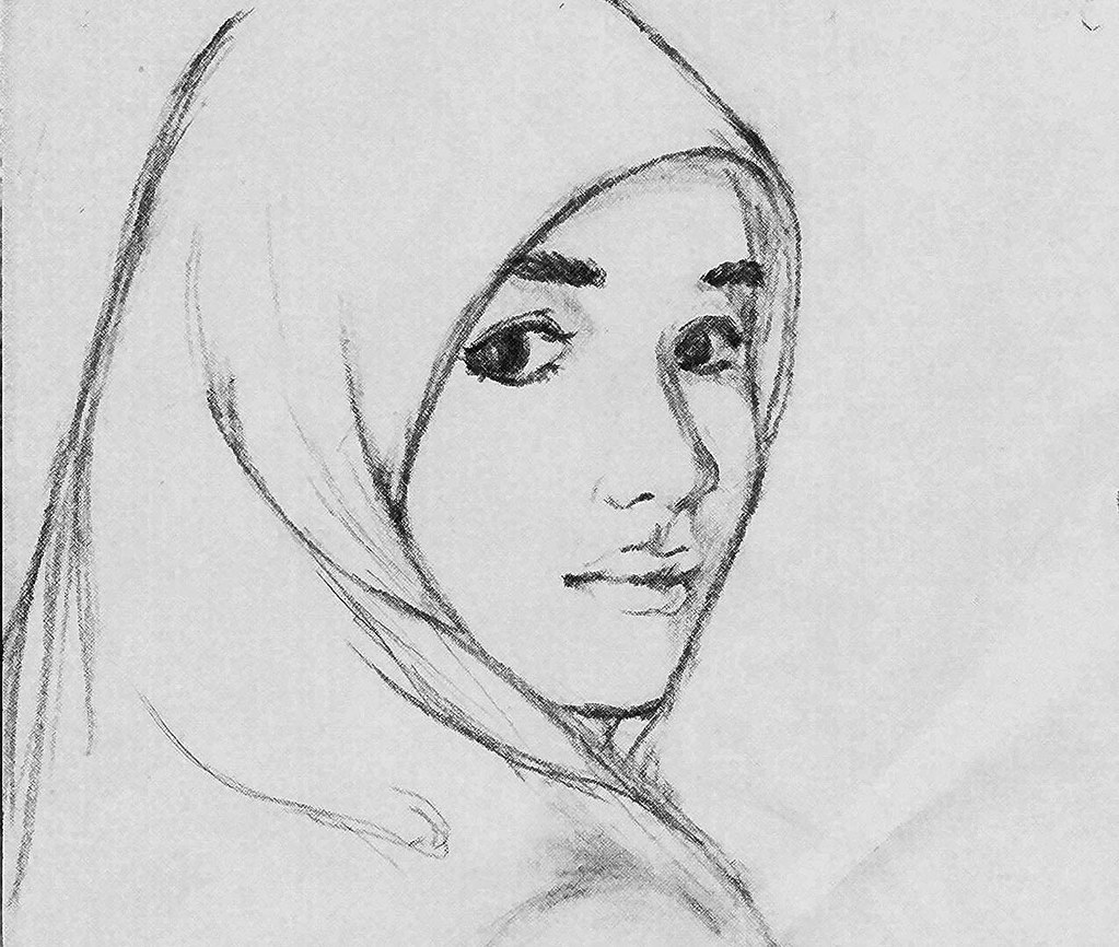 Sketsa Gambar Wanita Hijab