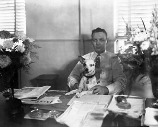 Billy Belk with dog at the Leon County Clerk's Office in Tallahassee, Florida