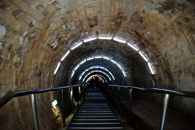 Stairway into the Turda Salt Mine