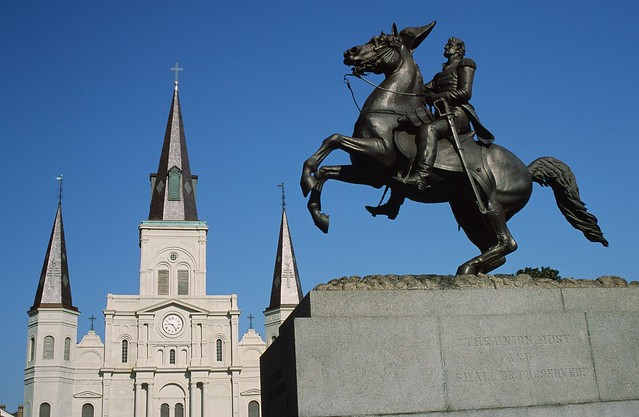 Jackson Monument & St. Louis Cathedral - New Orleans, Louisiana - Flickr user Mark Heard