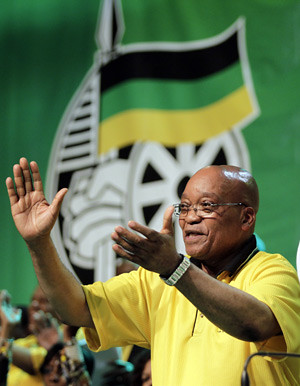 South African President Jacob Zuma addressing the African National Congress leadership meeting in Durban on September 20, 2010. Zuma reaffirmed leadership of the ruling party amid an ongoing debate over the future of the national democratic revolution. by Pan-African News Wire File Photos