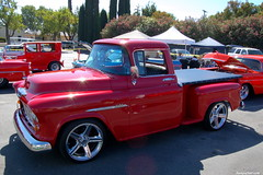 1957 chevrolet(0.0), chevrolet advance design(0.0), hot rod(0.0), automobile(1.0), automotive exterior(1.0), pickup truck(1.0), vehicle(1.0), truck(1.0), chevrolet task force(1.0), antique car(1.0), land vehicle(1.0), motor vehicle(1.0),