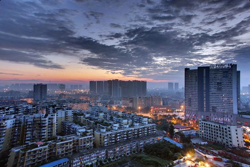 life china street morning sky skyline clouds sunrise early chengdu 中国 sichuan 成都 hdr 四川