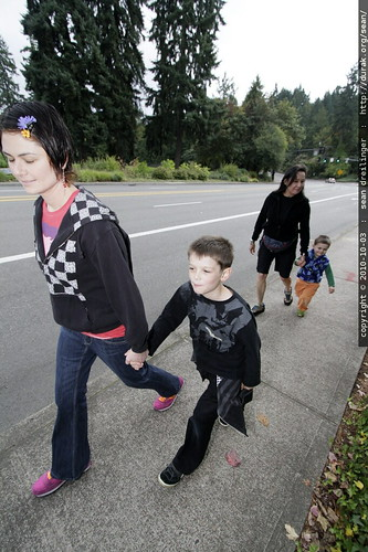 family walk from our neighborhood to down town lake oswego