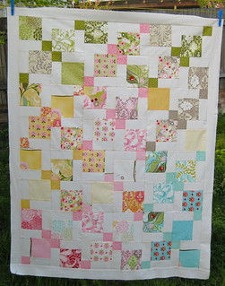 Moda Hunky Dory charm pack quilt using disappearing 9 patch quilt blocks